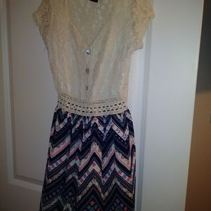 Dress with lace top